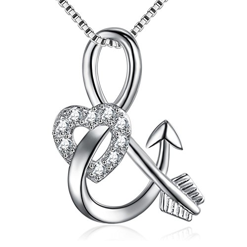 """BGTY 925 Sterling Silver Infinity Arrow Love Cubic Zirconia Pendant Necklace,18"""""""