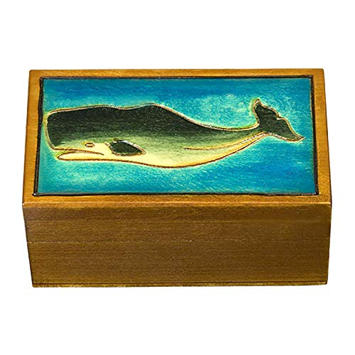 Hand Painted Wood Jewelry - Sperm Whale and Ocean Decorated Polish Jewelry Keepsake Box