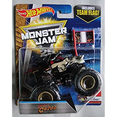 HOT WHEELS MONSTER JAM 1:64 SCALE EPIC ADDITIONS 4/10, PIRATE'S CURSE INCLUDES TEAM FLAG 25TH ANNIVERSARY: Toys & Games