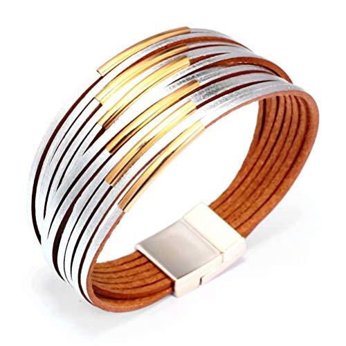 Mnz Jewelry Braided Rope Boho Multilayer Wrap Bracelets Cuff Bracelets for Women Magnetic Bracelet Handmade Jewelry for Mother -