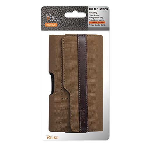 Lid Pattern (Reiko Horizontal Heavy Duty Rugged Pouch with Z Lid Pattern for iPhone 6/6s - Carrier Packaging - Brown)