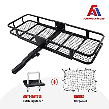 Image of AA Products Inc. Hitch Mount Cargo Carrier with Cargo Net and Anti-Rattle Stabilizer 60' x 21' x 6' Folding Cargo Basket with 500 LB Capacity Fits 2' Receiver for Car SUV Pickup Cargo Baskets