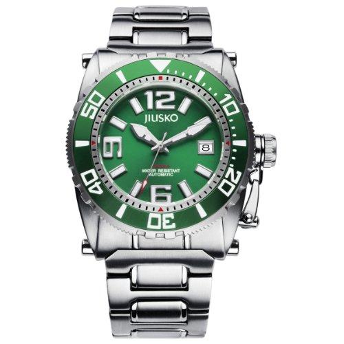 JIUSKO Men's Deep Sea 69LSGR16 24 Jeweled Automatic Titanium Green Watch by JIUSKO