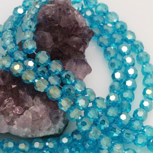 Glass Chinese Crystal Round Beads (72 Pcs Chinese Crystal Glass Loose Beads Faceted Round 8mm Loose Spacer Topaz Blue AB)