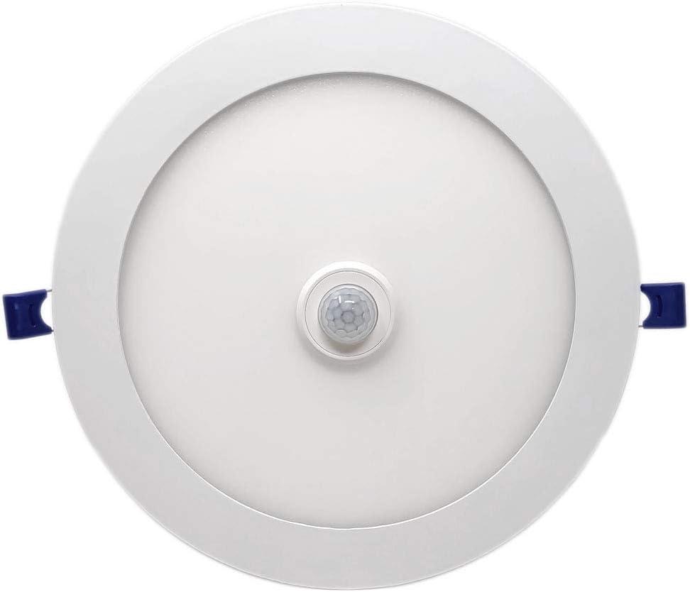FactorLED Downlight circular LED extrafino de techo con sensor de movimiento 20W, Panel redondo empotrable con detector, placa Slim, lámpara luz fría, ...