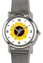 Sunflower Flower with Two Bees Photo - WATCHBUDDY® ELITE Chrome-Plated Metal Alloy Watch with Metal Mesh Strap - Small ( Children's Size - Boy's Size & Girl's Size )