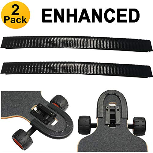 SENSIVO Skateboard Deck Guards Protector, Excellent Edge Protection, Longboard, Boosted Board Nose Guard and Tail Guard, Durable Shock Absorbing Rubber Cover, Rubber Strip(Pack of 2) (Jet Black) (Jet Deck Longboard)