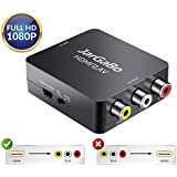 HDMI to RCA, HDMI to AV, JarGaBo 1080P HDMI to AV 3RCA CVBS Composite Video Audio Converter Adapter Supports PAL/NTSC, Black