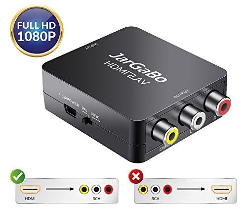 HDMI to RCA, HDMI to AV, JarGaBo 1080P HDMI to AV 3RCA CVBS Composite Video Audio Converter Adapter Supports PAL/NTSC, Black