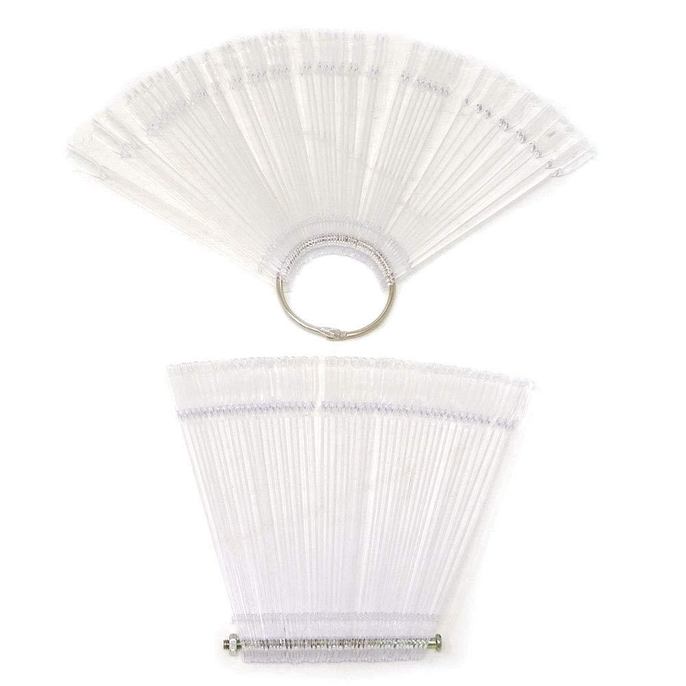 yueton 2 Set Total 100 Tips Transparent Fan-shaped Nail Art Tips Display Polish Board Display Practice Sticks Tool with Metal Screw Split Ring Holder