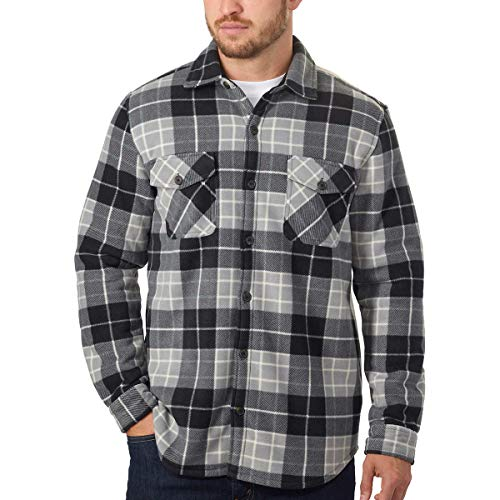 (Men's Plaid Super Plush Jacket Shirt (Gray, Large))