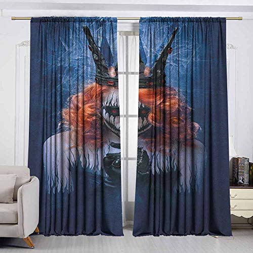 VIVIDX Waterproof Window Curtain,Queen,Queen of Death Scary Body Art Halloween Evil Face Bizarre Make Up Zombie,Simple Stylish,W72x63L Inches Navy Blue Orange Black -