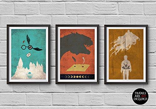 Click for larger image of Harry Potter Trilogy Minimalist Poster Set The Sorcerer's Stone The Chamber of Secrets The Prisoner of Azkaban Vintage Modern Home Decor Cinema Poster Artwork Wall Art Wall Hanging Cool Gift