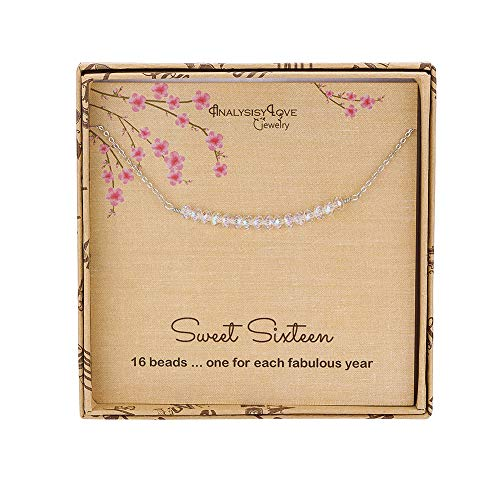 AnalysisyLove Sweet 16th Birthday Gifts for Girls, Sterling Silver Beaded Necklace for 16 Year Old Girl Jewelry Gift (Best Gift For 16 Year Girl)