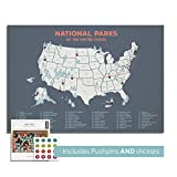 USA National Parks Push Pin Canvas Map - Mark Travel Adventures with Included Pushpins and Stickers - Customizable Wall Decor for Personalized Wedding Gifts, Anniversaries (24'' x 18'', Grey)