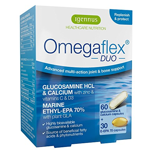 Omegaflex DUO - Hochwirksames Glucosamin, Kalzium und Omega-3 EPA Fischöl für Gelenke & Knochen - 60 + 30 Kapseln