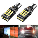 Bogao Extremely 2200 lumens Bright Error Free Canbus 921 912 W16W Chipsets 21 SMD 2838 LED Bulbs For Backup Reverse Lights, Xenon White (Set of 2)