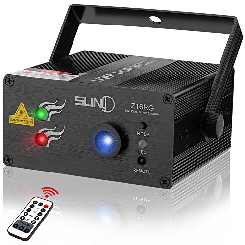 Cheap SUNY RG Laser Light DJ Laser Lights for Party Music Laser Projector 16 Gobos Red Green Laser Blue LED Remote Control Sound Active Stage Lighting Indoor Disco Home Decorative Holiday Dance Live Show