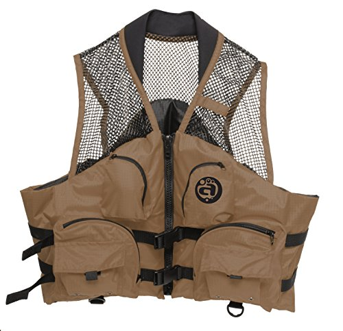 Deluxe Mesh Top Fishing Vest, L/XL, Bark - Vest Bark