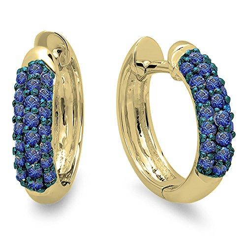 14K Yellow Gold Round Blue Sapphire Ladies Huggies Hoop Earrings 14k Yellow Gold Sapphire Hoop Earrings