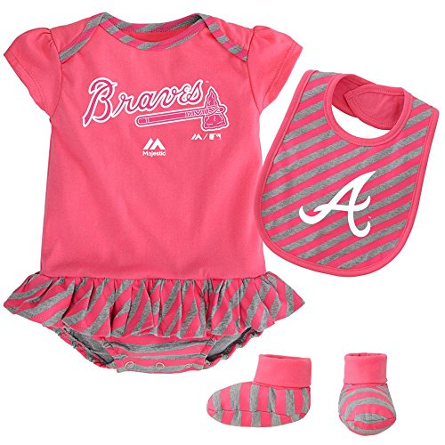 Majestic Atlanta Braves Baby Girl Striped Pennant Bodysuit, Bib and Bootie Set, (Atlanta Braves Baby Bib)