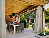 Outdoor Curtain Beige 52'' W x 84'' L Pinch Pleated For Track or Traverse Rod with Ring,at Front Porch, Pergola, Cabana, Covered Patio, Gazebo, Dock, and Beach Home.