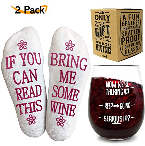 Funny Wine Glass + Wine Socks Gift Set for Women
