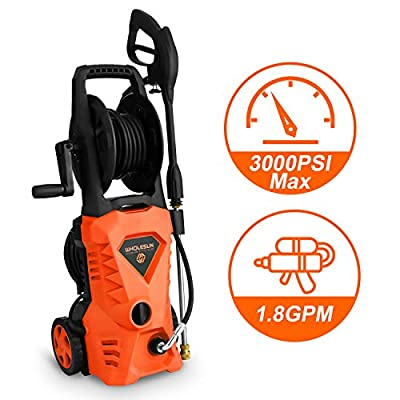 WHOLESUN 3000PSI Electric Pressure Washer 1.85GPM 1600W Power Washer with with Hose Reel and Brush