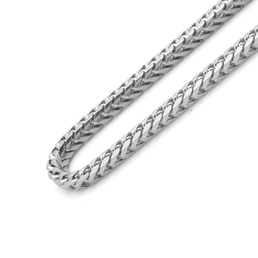 Sterling Silver Italian 2.5mm Solid Franco Square Box Link 925 Sterling Silver -Made in Italy (Rhodium, 24)