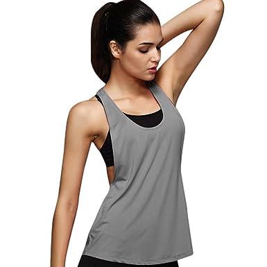 cc33e31d79b68b Brezeh Tank Tops Women,Women Summer Loose Casual Sleeveless Tank Tops Gym  Sport Vest T-Shirt Blouse Tops For Training Run (Sexy Gray, S): Amazon.co.uk:  ...