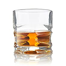 Whiskey Glasses, Set of 4 - Exclusive Heavy Bottom Scotch Glass - Superior Quality Whisky Glassware - Elegant Hand Blown Oval Shaped Old Fashioned Tumblers - Patent Pending Design