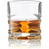 Grip Whiskey Glass, Set of 4 - Exclusive Heavy Bottom Scotch Glasses - Superior Quality Whiskey Glasses - Elegant Hand Blown Oval Shaped Old Fashioned Glasses - Patent Pending Design