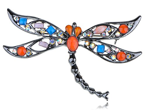 Alilang Gun Metal Tone Dragonfly Fire Opal Eyed Crystal Rhinestone Fashionable Pin Broach