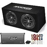 Kicker DC122 Dual 12 600W Car Audio Subwoofers + Box + Boss 2000W Amp + Amp Kit