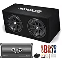 Kicker DC122 Dual 12 600W Car Audio Subwoofers + Box + Boss 2000W Amp + Amp Kit