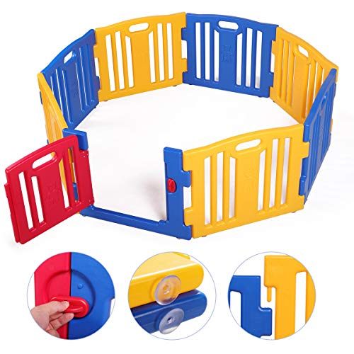 Sandinrayli Baby Playpen 8 Panel Foldable Kids Safety Play Center Fence Indoor Outdoor