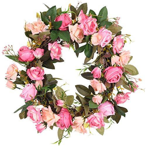 TINGOR 13'' Artificial Rose Flower Wreath, Handmade Fake Rose Door Wreath Floral Twig Wreath for Front Door, Wall, Wedding, Home Décor -