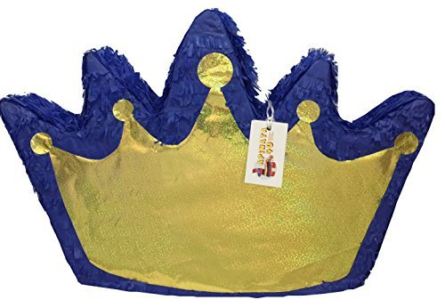 Pull Crown - APINATA4U Royal Blue & Gold Crown Pinata Pull Strings Style