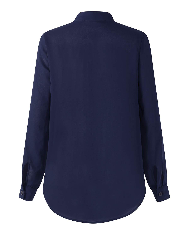 Auxo dam blus långärmad tröja v-ringad chiffon blus överdel t-shirt unika toppar 01-marine