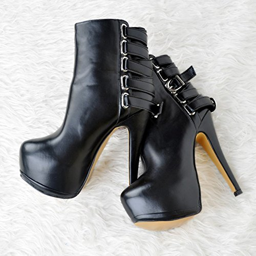 Kolnoo Womens Fashion Handmade 14.5cm Round Toe Buckle Strap Slim High Heel Ankle Boots Sexy Shoes Black ZEGplqnbs