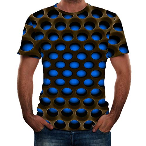 Unisex Tops 3D Printed T-Shirts Pattern Printed Short Sleeve Casual Comfort Blouse (M, Blue) (Burberry Herren Tasche)