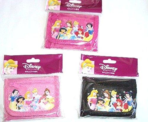 Hot Disney Princesses (3 pieces Disney Princesses Tri-fold Wallet Pink Black Hot Pink Gift for Princess Holiday, Birthday)
