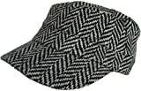 Herringbone Newsboy Wool Beret Driver Cap (Black / Off-White)