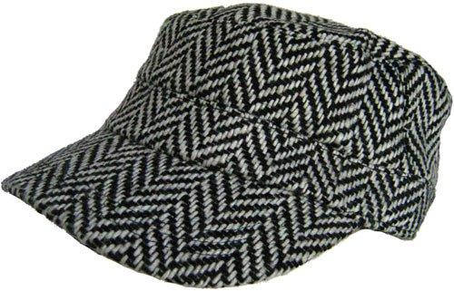 Herringbone Newsboy Wool Beret Driver Cap (Black / -