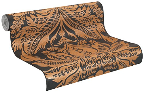 515220 - Trianon XI Floral Black Copper Galerie Wallpaper by Galerie