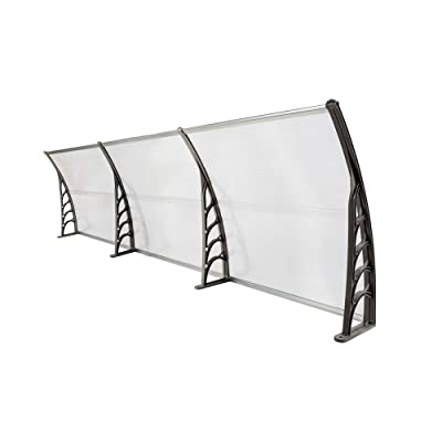 Vanhon HT-300 x 100 Household Application Door & Window Rain Cover Eaves Transparent Board & Gray Holder (Gray): Garden & Outdoor