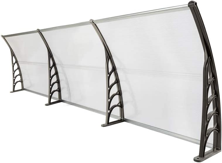 Nollapo 116 inch / 78 inch / 39 inch Window Awning Outdoor Polycarbonate Hollow Sheet Door Patio Canopy (40''x 120'', Silver Canopy + Grey Bracket)