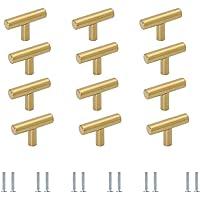 Meubelgrepen T-stanggreep meubelknoppen goud 12 stuks, commodeknop deurknop aluminiumlegering ladeknoppen voor kast…