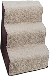 Dog Stairs to get on High Bed for Cat and Pet Steps at Home or Portable Travel Up to 175 lbs - Brown