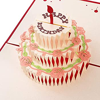 Unomor Happy Birthday Card 3 Layers Cake Pop Up With Cute Red Candle